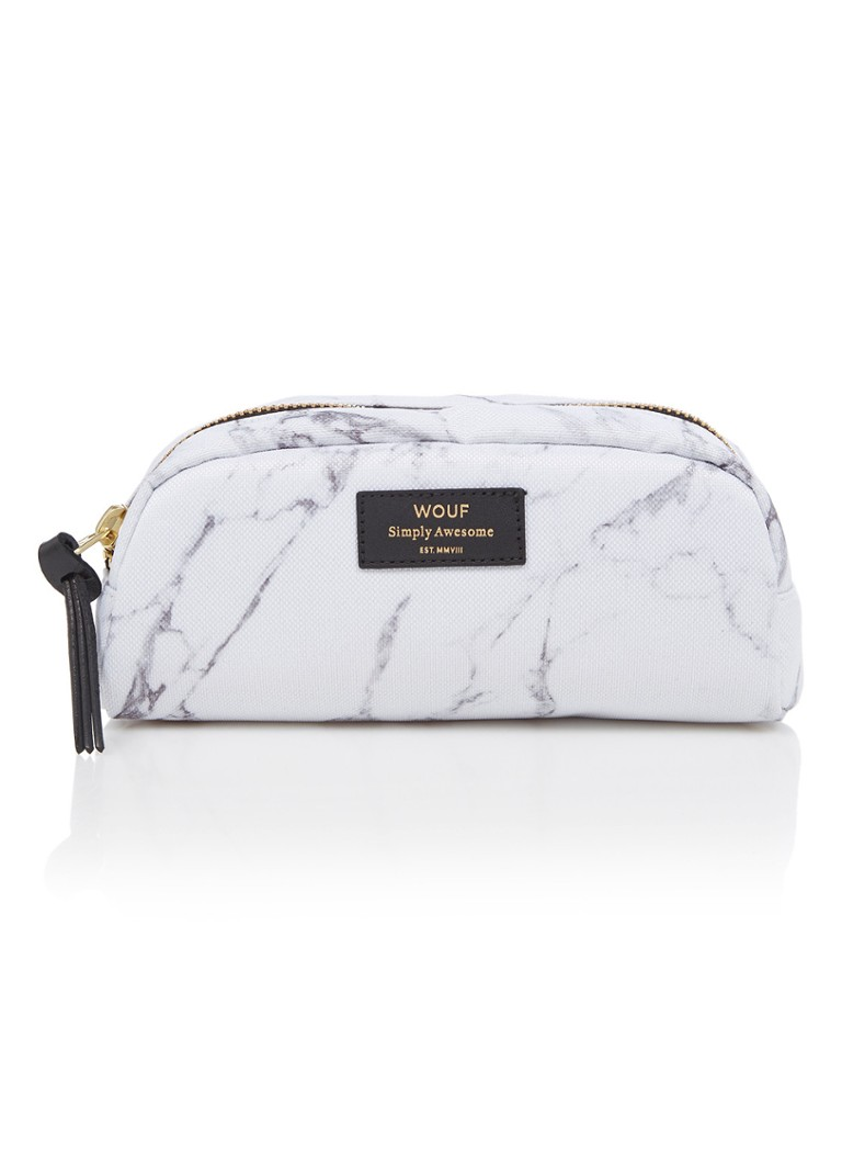 Wouf - Marble S make-up tas met dessin - Wit