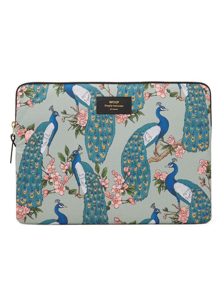 Wouf - Royal Forest laptophoes met print 13 inch - Mint
