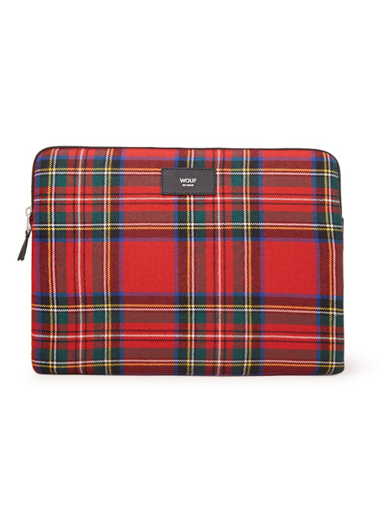 Wouf - Tartan laptophoes 13 inch  - Rood
