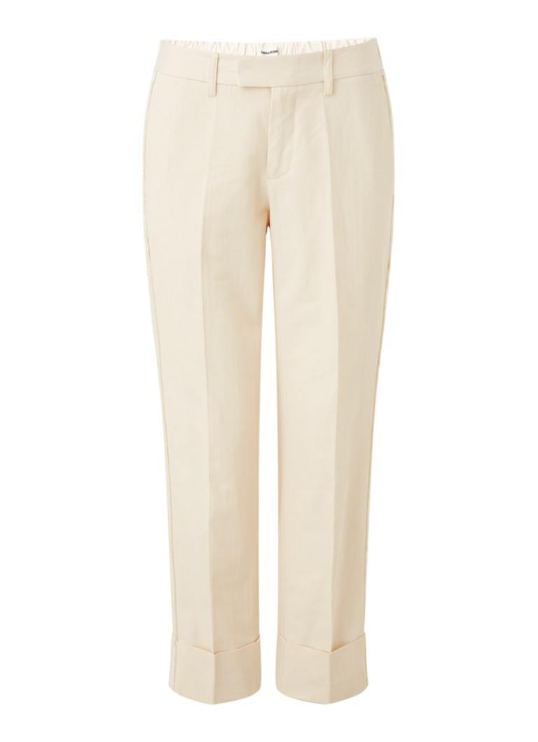Zadig&Voltaire - Pomela high waist straight fit pantalon in linnenblend - Creme